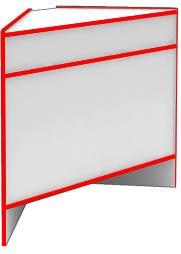 Прилавок угловой внешний S6060 NZ STEP (кромка красная)