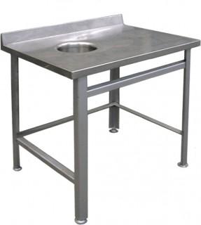 Стол пристенный для сбора отходов СППО 9/6 оц (отверстие слева)