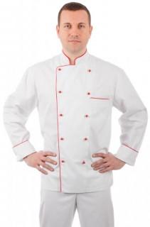 Куртка шеф-повара белая мужская с манжетом (отделка красный кант) [00002]