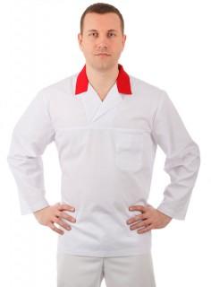 Куртка работника кухни мужская белая с красным воротником [00101]