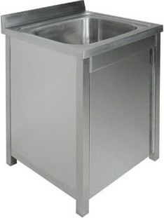 Ванна моечная односекционная с распашной дверкой ВМ-16/456 нерж