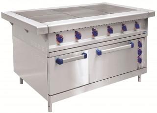 Плита электрическая ЭП-6ЖШ-К-2/1 шестиконфорочная с жарочным шкафом (полностью нерж, серия 900)