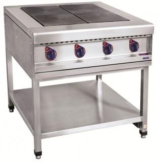 Плита электрическая ЭПК-48П четырехконфорочная без жарочного шкафа (полностью нерж, серия 900)