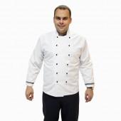 Куртка шеф-повара белая с синим кантом [0196]